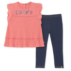 Girls Coral Lucky Brand Outfit Matching Set NEW